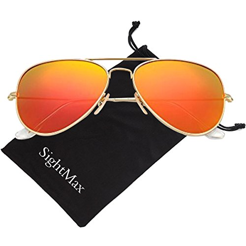 SightMax Polarized Male Female Aviator Sunglasses Flash Mirror UV400 (Gold Frame/Orange - Sunglasses Lens Orange