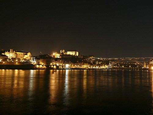 Porto at Night - Seen from Nova Gaia Wall Decal Mural - 48 Inches W x 36 Inches H - Peel and Stick Removable Graphic