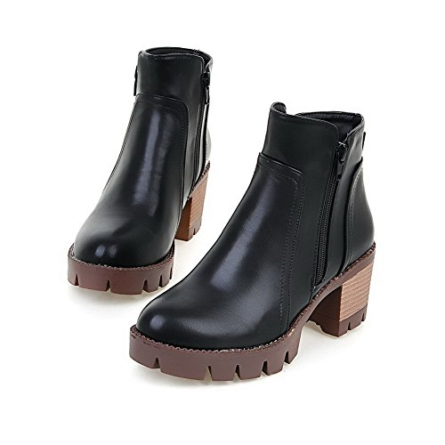 AgooLar Women's PU Low Top Solid Zipper Kitten-Heels Boots Black BhyH9Kp