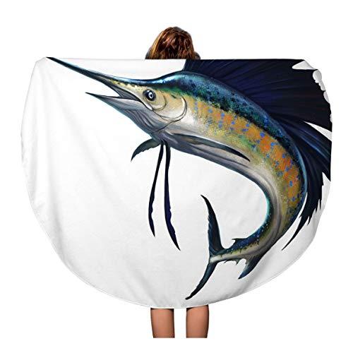 Pinbeam Beach Towel Blue Marlin Sailfish on Atlantic Fish Jumping White Travel 60 inches Round Tapestry Beach Blanket