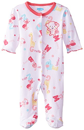 Bon Bebe Baby-Girls Newborn Jungle Friends Footed Snap Front Coverall, Multi, 3-6 (Bon Bebe Girl)