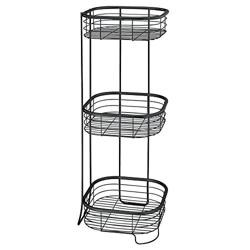(InterDesign Forma Free Standing Bathroom or Shower Storage Shelves for Towels, Soap, Shampoo, Lotion, Accessories - 3 Tier, Matte Black)