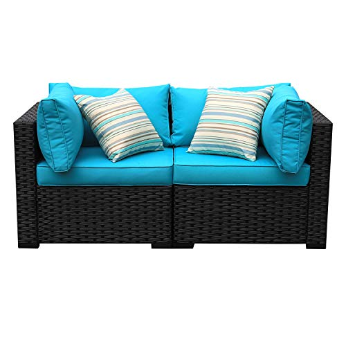 Outdoor PE Wicker Chairs-2 Piece Patio Black Rattan Garden Conversation Corner Chair End Seat Furniture Set Turquoise Cushion (Small Chairs Corner)