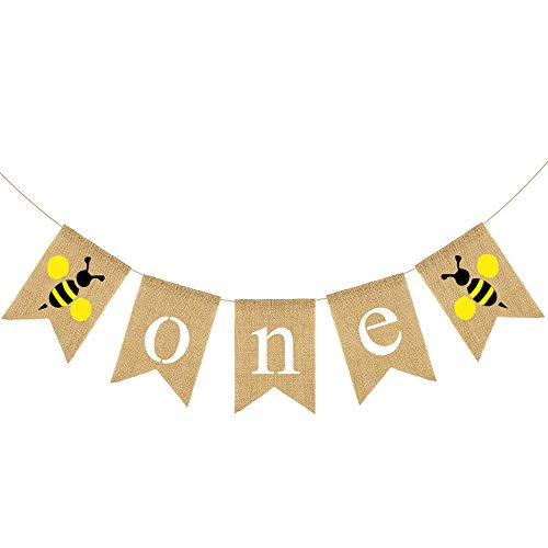 Bumble Bunting Bee - Rainlemon Jute Burlap Bumble Bee One High Chair Banner Baby Boy Girl 1st Birthday Party Highchair Decoration