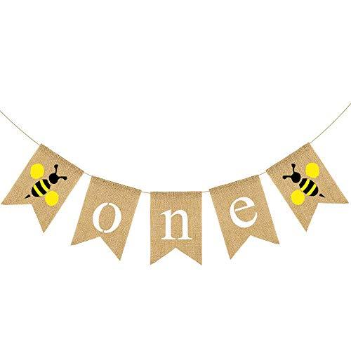 Rainlemon Jute Burlap Bumble Bee One High Chair Banner Baby Boy Girl 1st Birthday Party Highchair Decoration