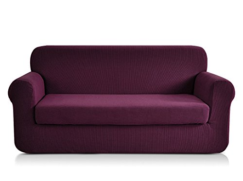 CHUN YI Jacquard loveseat Covers 2-Piece Stretch Polyester Spandex Fabric Couch Slipcover Coap, 2 Seater Cushion Sofa Furniture Protector for Couch (Loveseat, Dark Magenta) (Parson Chair Piece 2)