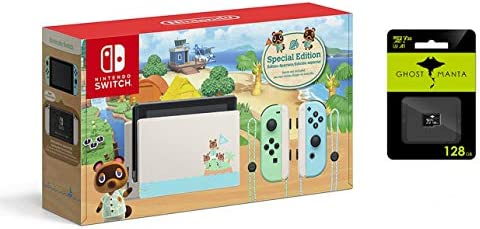 "Nintendo Switch with Green and Blue Joy-Con Console - Animal Crossing: New Horizons Edition - Family Christmas Holiday - 6.2"" Touchscreen LCD Display, 128GB MicroSD Card Bundle"