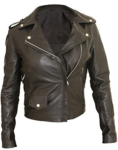 Geniune amp; Jones Leather Zip Leather Side High Stylish Faux Jessica Slimfit Jacket icon Real Two Women's Pocket Quality wHxPqSOAv