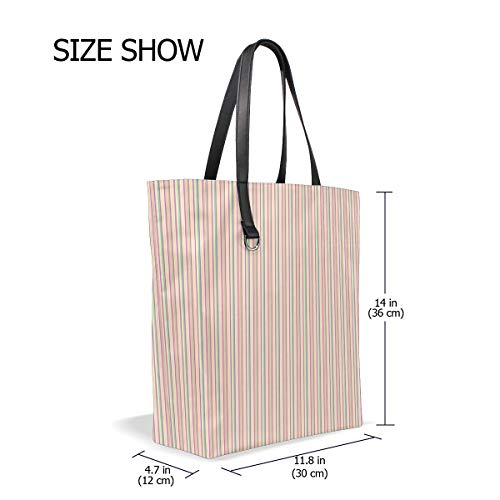 ENEVOTX Women Vertical Stripes Scrapbook Lines Handle Satchel Handbags Shoulder Bag Tote Purse Messenger Bags