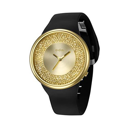 (o.d.m. Women's Watch Crystal Dial Rose Gold Case Black Silicone Analog Quartz Wristwatch DD184-02)