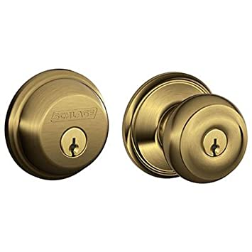 schlage lock company fb50nvgeo609 georgian antique brass knob