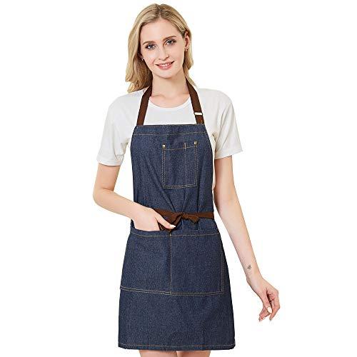 (Meychin Adjustable Denim Jean Kitchen Apron with 4 Pockets for Women Men Optimized Upgrade(Denim))