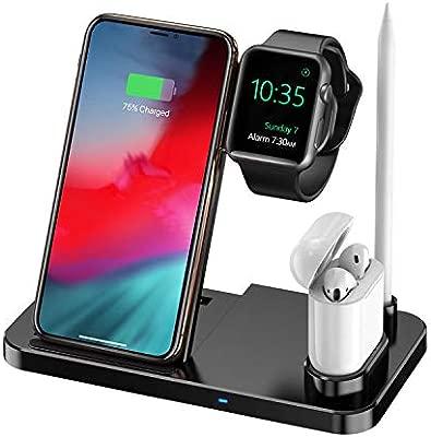 Cargador inalámbrico Estación de Carga 4 en 1 para Apple Watch Soporte de Carga inalámbrico Qi Fast Compatible con iPhone 11 Pro/X/XS/XR/XS MAX / 8 ...