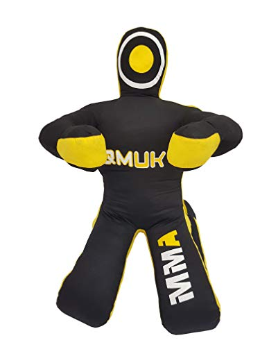 QMUK MMA Grappling Brazilian Jiu Jitsu Wrestling Mixed Martial Arts Judo Training Kick Boxing Dummy (Canvas Black/Yellow, 70