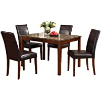 ACME 06770 Faux Marble 5-Piece Dining Set