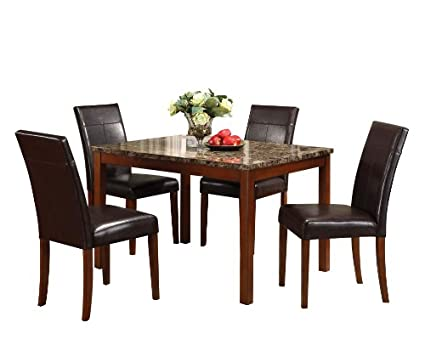 ACME 06770 Faux Marble 5 Piece Dining Set