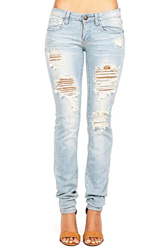 Machine Women's Juniors Destroyed Low Rise Straight Leg Jeans, 7, Light Denim (Women Light Wash)