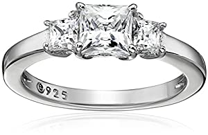 Platinum-Plated Sterling Silver Swarovski Zirconia Princess 3 Stone Ring by Amazon Collection