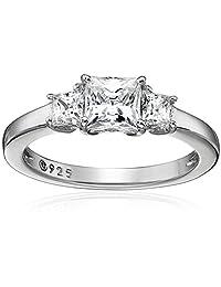 Platinum Plated Sterling Silver Swarovski Zirconia 1cttw Princess 3 Stone Anniversary Ring