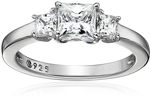 Platinum-Plated Sterling Silver Princess-Cut 3-Stone Ring made with Swarovski Zirconia (1 cttw), Size 5 Cut 3 Stone Ring