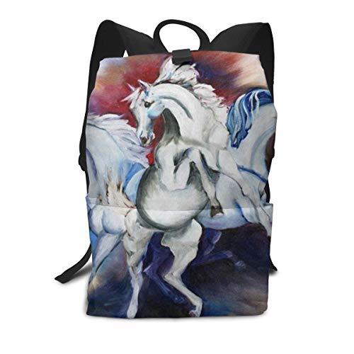 Funny Personalized Backpack Art Animal Horse Unicorn Zipper School Bookbag Daypack Travel Rucksack Gym Bag For Man Women (Best Weekend Getaways From Sf)