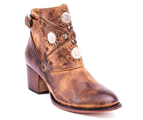 Gc Shoes Austin Western Ankle Boots - Zip-Up Metal Studded Stacked Heel Boot (7.5 B(M) US, Cognac)