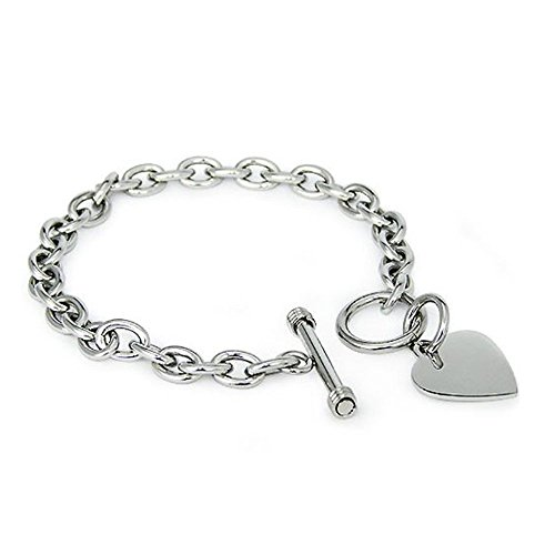Crazy2Shop Stainless Steel Trendy Cable Chain Bracelet with Heart Charm and Toggle Clasp Closure, High Polished Finished, ()