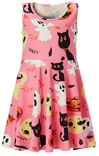 5 Years Old Kid's Round Neck Dresses Vintage Super Cute Halloween Pumpkin Tank Clothes Wedding Picnic Dresses for Little Girls M Size (Girls Sleeveless Pique)