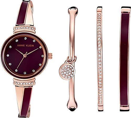 Set Accented Jewelry Crystal - Anne Klein Women's AK/2716RBST Swarovski Crystal Accented Rose Gold-Tone and Burgundy Watch and Bangle Set