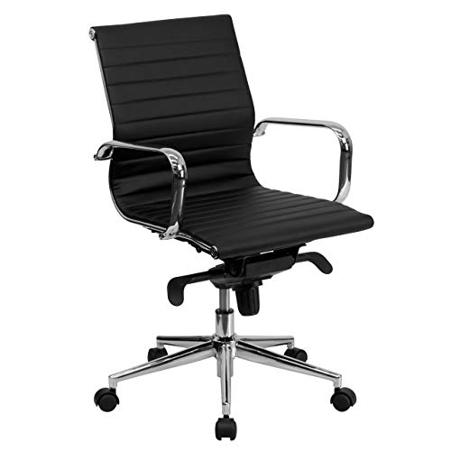 Flash Furniture Mid-Back Black Ribbed Leather Swivel Conference Chair with Knee-Tilt Control and Arms (Renewed)
