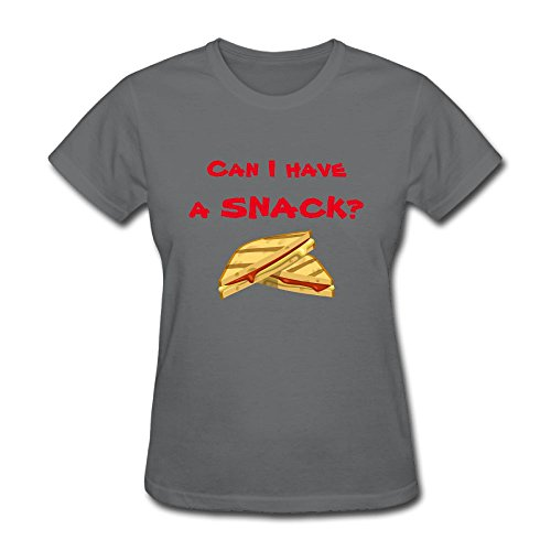 Floraharbour Women's Can I Have A Snack Fun Casual Style Hiking Asphalt T Shirt M Short Sleeve