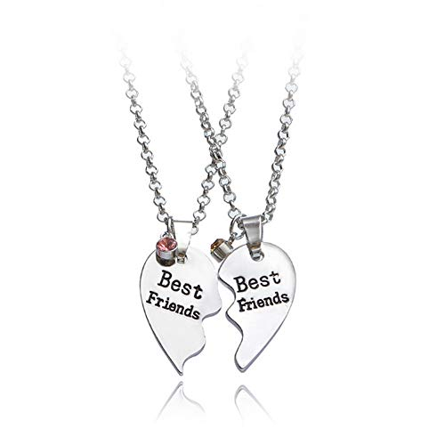 Best Friends Decorative Split Heart 2-Piece Message Pendant Necklace Set