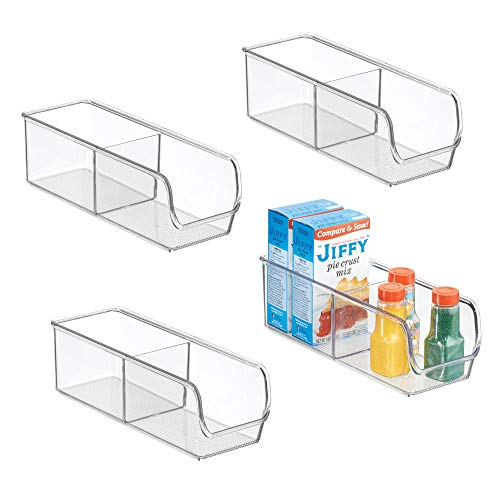 mDesign Kitchen, Pantry, Refrigerator, Freezer Storage Organizer Bin - Pack of 4, Divided, Clear