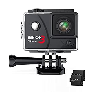 Action camera MINIGO 3, 4K 16MP Sports action camera Waterproof 100FT Underwater camera 170°wide angle with Sony sensor, 2 Rechargeable batteries and mounting accessories kit in Portable Package Blac
