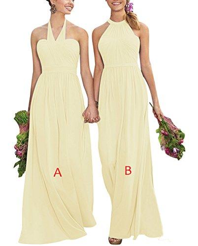 Lovelybride Halfter Ärmelloses Lang Brautjungfer Chiffon b Gelb Elegante Abendkleid Kleider 6p1Sw6WBq
