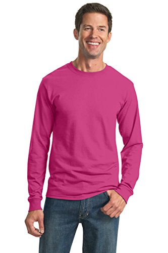 Jerzees Men's Heavyweight Blend 50/50 Long Sleeve T-Shirt (Azalea, XXX-Large) (T-shirt Azalea Youth Heavyweight)