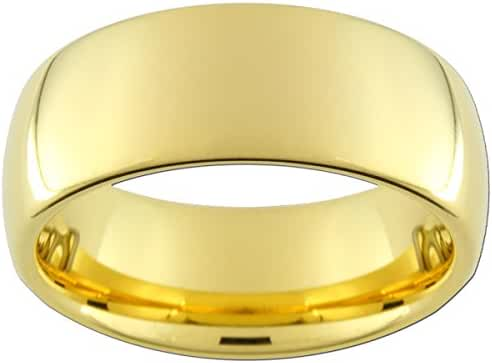 9mm Gold Color Tungsten Carbide Ring (full and half sizes 5-15)