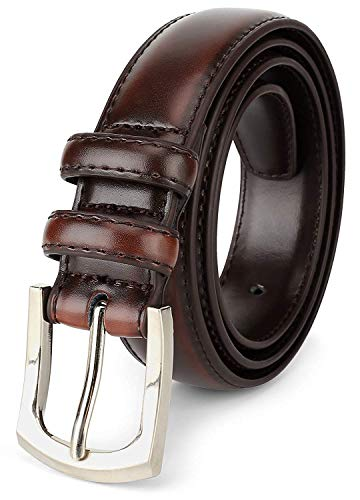 Men's Genuine Leather Dress Belt Classic Stitched Design 30mm 'ALL LEATHER' Reddish Brown - Mahogany Size - Genuine Mahogany