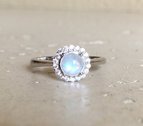Small Moonstone Promise Ring- Round Moonstone Engagement Ring- Halo Rainbow Moonstone Ring- June Birthstone Ring- Anniversary Ring- Sterling Silver Cabochon Ring