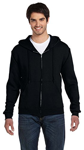 Fruit of the Loom 12 oz. Supercotton 70/30 Full-Zip Hood, Large, BLACK (Fruit Of The Loom Ribbed Sweatshirt)