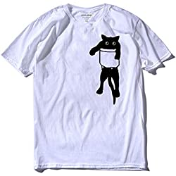 100% Cotton Loose Cat Printed Men T Shirt Casual Short Sleeve O-Neck Funny Mens Tshirt Tops Tees,Bs,M