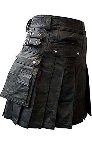 Mens Real Black Brown Leather Kilts LARP Utility Kilt Gladiator Pleated Wedding Kilts (W 34