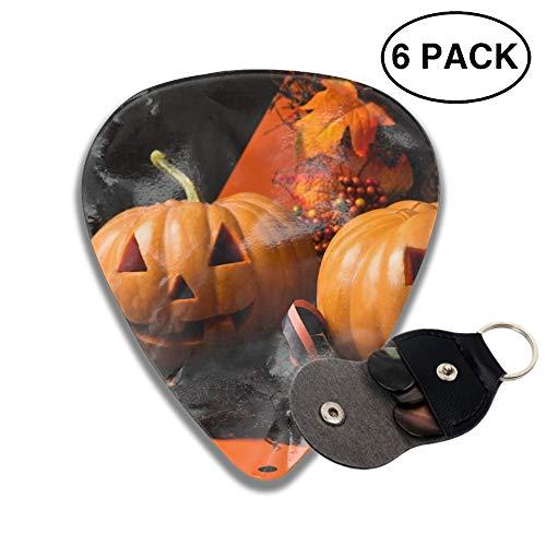 Halloween Pumpkin Face Celluloid Guitar Picks 3D Printed 6-pcs Thin, Medium, Heavy Gauges For Boyfriend -