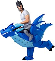 Inflatable Costume Riding a Fire or Ice Dragon Air Blow-up Deluxe Halloween Costume - Adult Size