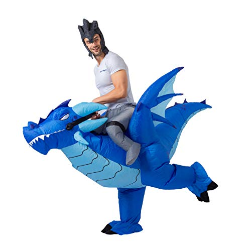 Blue Blow Up Halloween Costume (Halloween Inflatable Costume Blow-up Deluxe Riding an Ice Dragon)