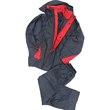 Rain/Wind Proof Jacket & Pants Youth Navy Blue/Red (12) grey hund COMINU048586