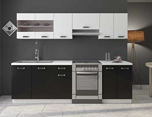 Küche Omega 240 cm Küchenzeile / Küchenblock variabel stellbar in ...
