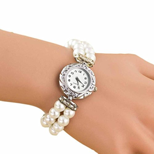 Ugood Hot Sale Women Students Beautiful Fashion Brand New Golden Pearl Quartz Bracelet Watch (White)