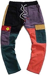 Doufine Men Corduroy Mid-Rise Straight-Fit Color Block Multi-Pocket Cargo Pants