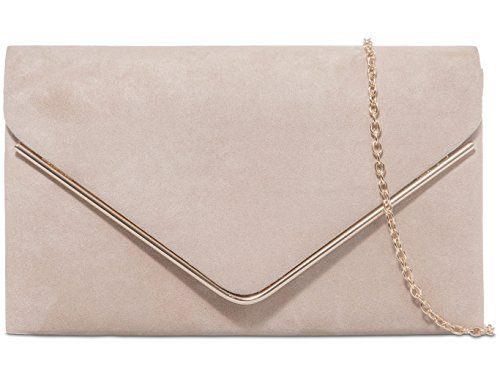 Metallic Bag Nude H Envelope Design amp;G Faux Clutch Suede Plain Nude Frame Ladies xwg70qg1X
